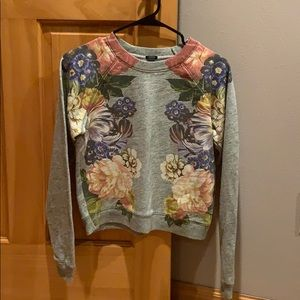J. Crew gray floral sweatshirt. slight crop style.